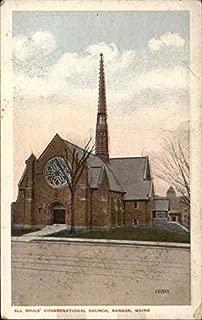 All Souls' Congregational Church Bangor, Maine Original Vintage Postcard