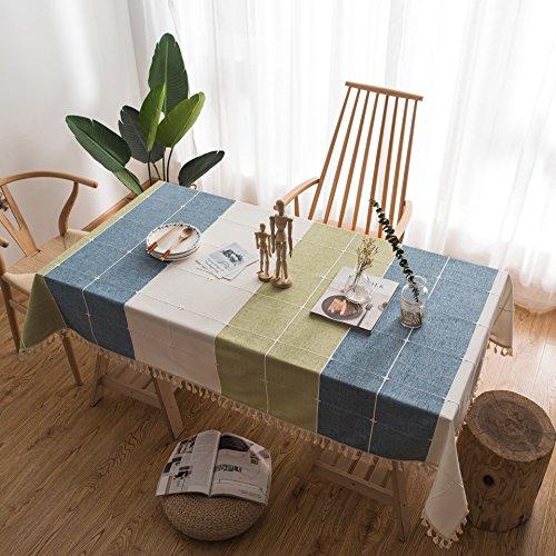 YCZZ tafelkleed van katoenen linnen, modern, met kant, geborduurd met eik, voor woonkamer, tafelkleed, rechthoekig, geruit