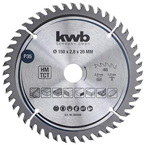 kwb 583568 Präzisions Tischler-Kreissäge-Blatt, Holz-/Hartholz-Sägeblatt, 150 x 20 mm feine Schnitte, hohe Zahl, 48 Zähne Z-48