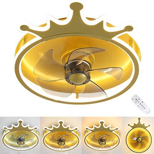 OOWOKS Lámpara de Techo con Fan Invisible para habitación Infantil Dorado Ventilador de Techo con iluminación Plafón LED Regulable en 3 Colores con Mando a Distancia Moderna 32W para dormitorios Sala