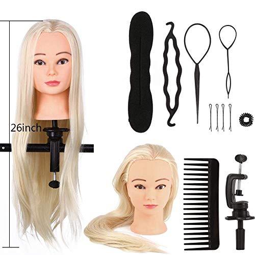 Práctica de entrenamiento de peluquería, muebles de peluquería, cabeza de entrenamiento, maniquí de cosmetología de peluquería larga + herramienta de trenza [1#]