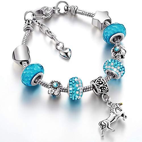 Einhorn Funkelnd Kristall Charm Armband Armreif mit Geschenkbox Set für Mädchen Dame (Seeblau, 16 cm/ 6,3 Zoll)
