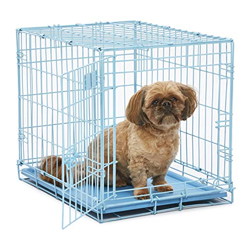 Blue Dog Crate   MidWest iCrate 24' Blue Folding Metal Dog Crate w/ Divider Panel, Floor Protecting Feet & Leak Proof Dog Tray   24L x 18W x 19H Inches, Small Dog Breed