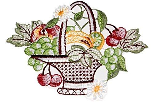 Plauener Spitze hübsches Fensterbild 15x18 cm + Saugnapf Obstkorb Weintrauben Spitzenbild Sommer Herbst