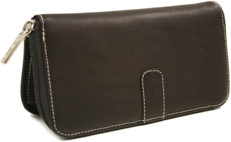 Piel Leather Zip Around Wallet, Chocolate, One Size