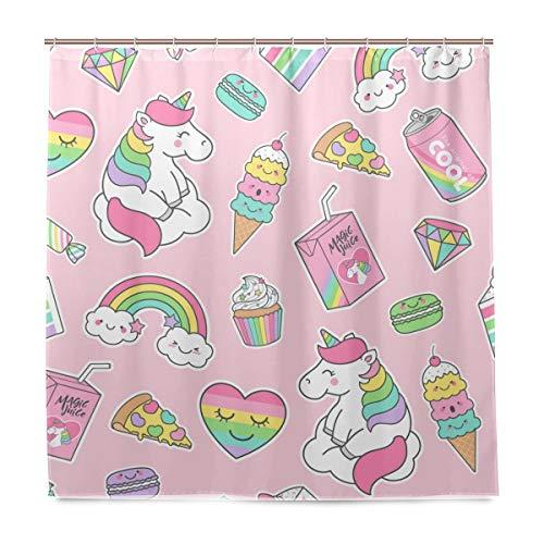 LKJHG Unicorn Pizza Ice Cream Candy Duschvorhang 72x72 Zoll Polyester Wasserdicht Mit 12 Haken für Badezimmer