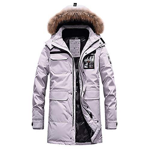 YZY donsjack voor heren, warme winterjas met afneembare capuchon en leren kraag