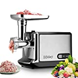 Electric Meat Grinder, Meat Slicer & Sausage Stuffer 2000W Max, with 3 Grinding Plates, Sausage &...