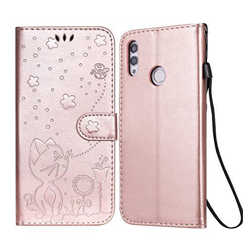 JRIANY para Funda Huawei P Smart 2019 / Honor 10 Lite Carcasa Billetera con Tapa Cubierta Libro Protectora Antigolpes de Cuero con Diseño de Gato 3D Ranura Tarjeta y Soporte Plegable Caso, Oro Rosa