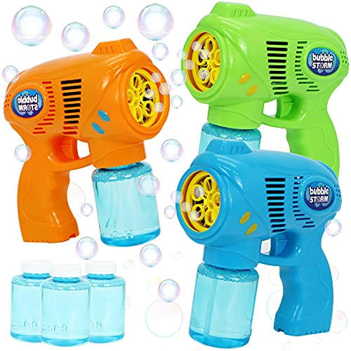 JOYIN 3 Bubble Guns Kit with 3 Bubble Solutions for Kids, Bubble Blaster for Summer Toy, Party Favors, Birthday, Outdoor & Indoor Activity, Birthday Gift, Bubble Blower Toy