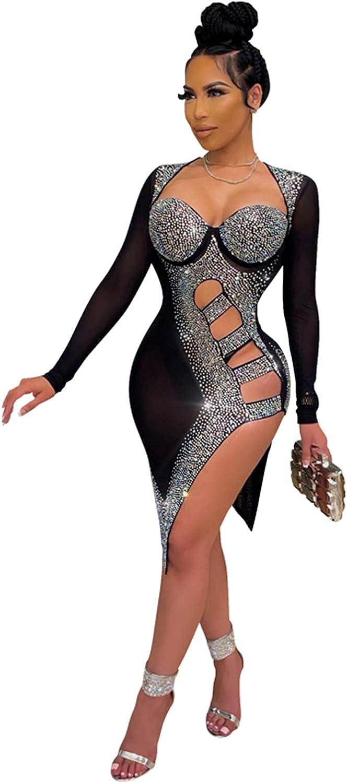 Womens Sexy Sparkly Sequin Long Sleeve Rhinestone Mesh See Through Bodycon Party Night Midi Dress Clubwear