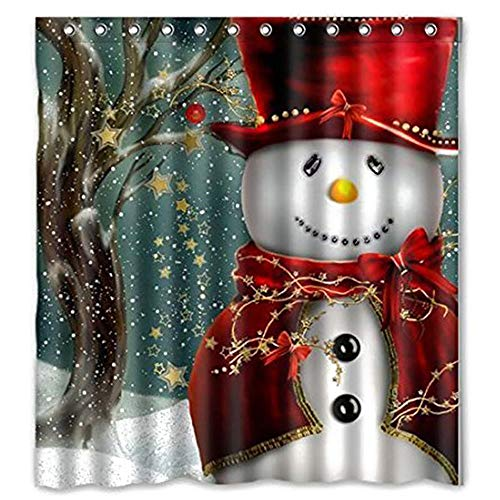 Weihnachten Duschvorhang, Frohe Weihnachten Schneemann wasserdichte Polyester Duschvorhang mit Haken für Weihnachtsdekoration, 153cm x 175cm