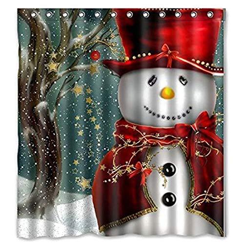 Cortina de Ducha de Navidad, Feliz Navidad Muñeco de Nieve Cortina de Ducha de poliéster Impermeable con Ganchos...