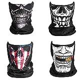 SOFTNOW 4 piezas de pasamontañas polainas multiuso para el cuello para hombres máscara de verano con filtro mezcla de cuatro colores UV, Negro, Medium