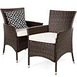 Best Choice Products Set of 2 Modern Contemporary Wicker Patio Furniture Dining Chairs for Backyard, Poolside, Garden w/Water-Resistant Cushions, Handwoven, Fade-Resistant - Brown