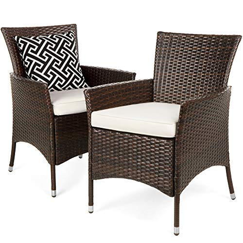 Best Choice Products Set of 2 Modern Contemporary Wicker Patio Dining Chairs for Backyard, Patio, Garden w/Water-Resistant Cushions, Brown