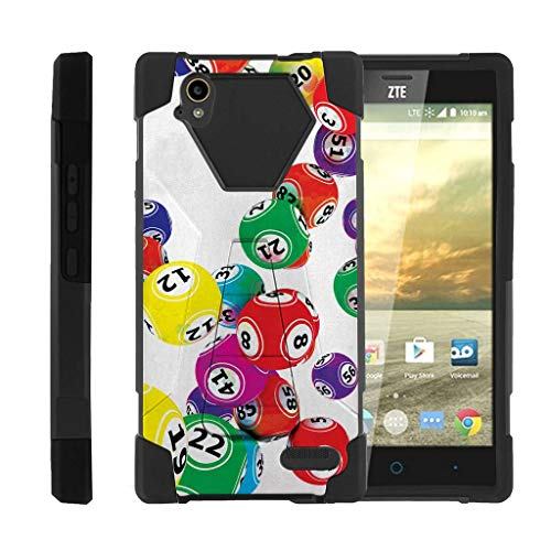 TurtleArmor | Compatible with ZTE Warp Elite Case | N9518 [Dynamic Shell] Hybrid Layer Kickstand Hard Protector Case Silicone Cover Gambling Casino - Lottery Balls