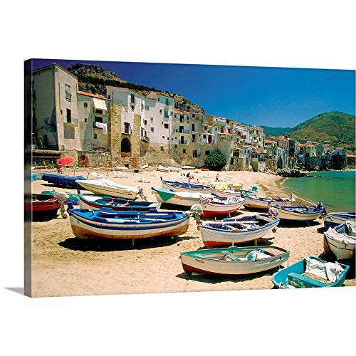 "Fishing Boats at Cefalu Harbor, Cefalu, Sicily, Italy Canvas Wall Art Print, 18""x12""x1.25"""