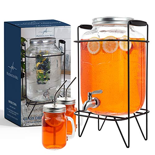 2 gallon glass drink dispenser with stand and 2 mason jars and stainless steel spigot and fruit...