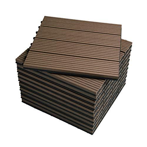 WOLTU GTF001br Piastrelle per Pavimenti da Esterno Balcone/Giardino/Terrazza Pavimentazione ad Incastro in WPC, Legno Composito, con 11 Pannelli da 30x30 cm Marrone