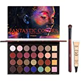 IYOOH 28 Colors Bright Eyeshadow Palette with Brush + Primer Kit, Ultra Pearly Diamond Glitter Highly Pigmented Makeup Set - Natural Neutral Matte - Cream Metallic Shimmer, Colorful Eye Shadow Pallets