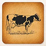 Set of 6 Coasters for Drinks Square Ceramic Absorbent Drink Coaster Antique Holstein Cow Farm Animal Illustration Tabletop Furniture Protection Decor for Home Kitchen Bar Housewarming Gifts 6 Piece