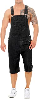QitunC Mens Shorts Dungarees Denim Bib Pants Baggy Ripped Hole Jeans Overalls Solid Color Casual Playsuit