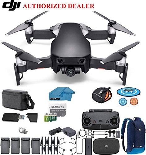 Price comparison product image DJI Mavic Air Fly More Combo Drone - Quadcopter with 64gb SD Card - 4K Professional Camera Gimbal 4 Battery Bundle - Kit - with Must Have Accessories (Onyx Black)