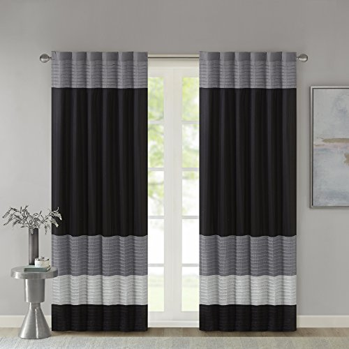 Madison Park Amherst Faux Silk Rod Pocket Curtain With Privacy Lining for Living Room, Window Drapes for Bedroom and Dorm, 50x84, Black