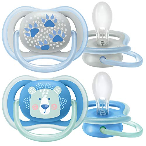 Philips Avent Fopspeen Ultra Air - 6 tot 18 maanden - 2 Stuks - Laat de huid ademen - Orthodontisch - Zijdezachte speen - Eenvoudig te steriliseren - Blauw - SCF085/03