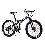 26 Inch Folding Full Suspension 21 Speed MTB Shimano Gear Mountain Bike Steel Frame Dual Disc Brake (Black Blue)