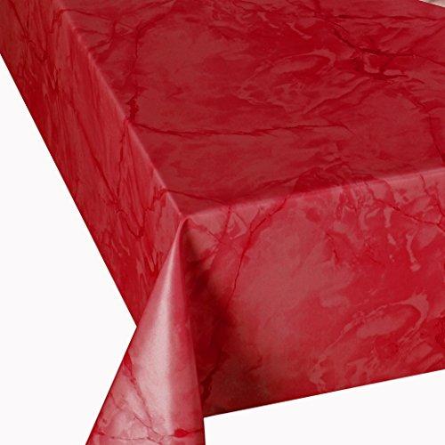 DecoHomeTextil Wachstuch Wachstischdecke Tischdecke Breite und Länge wählbar abwaschbare Gartentischdecke Lack Marmor Rot 120 x 160 cm Eckig