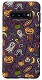 Galaxy S10 Halloween Pumpkins Black Cat Bats Witch Ghost Skull Candy Case