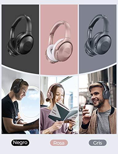 Mpow H17 Auriculares con Cancelación de Ruido, 45 Hrs de Juego, Cascos Bluetooth Diadema con Carga Rápida, Sonido Hi-Fi, Auriculares Diadema Bluetooth con Micrófono para TV/Móvil/PC-Gris