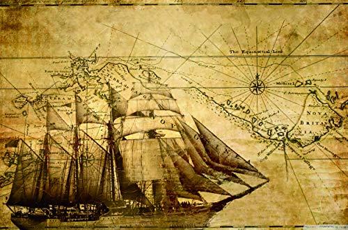 Carta Nautica di Un Vecchio veliero - Puzzle 1000 Pezzi Adulti Bambini Puzzle Giocattolo di Legno Gioco Puzzles