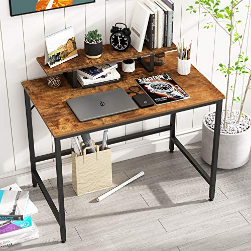 HOMEYFINE Computer Desk,Laptop Table with Storage for Controller,Wood and Metal,Study Table for Home Office,100 x 60 x 73 cm (Vintage Oak Finish)