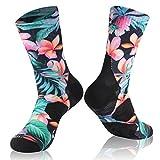 Waterproof Breathable Socks, RANDY SUN Unisex Coolmax Cycling Running Trekking Socks, 1 Pair-Red Flowers Printing-Mid Calf Socks,Medium