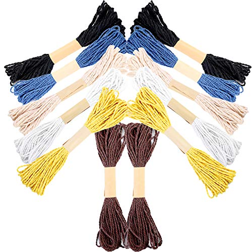 12 Rolls (393.6 Feet) Cotton String Basic Colors Bakers Twine, Cooking Twine Rope Cotton Cord Colourful Thick Twine Kitchen Twine, Twine Ribbon for Craft, Artworks, Decoration and Gift Wrapping String