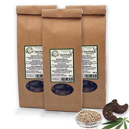 Herbal Force Kräuterleckerlis für Hunde - Hanf - getreidefrei - ohne Zuckerzusatz keinerlei künstliche Zusatz- und Konservierungsstoffe (Hanf-Kekse - getreidefrei - 3x200g)