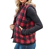 PKTOP Suéter sin mangas de cuello alto a cuadros para mujer