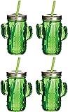Pack de 4 vasos de cristal con pajita reutilizable y tapa enroscable 350ml (VERDE)