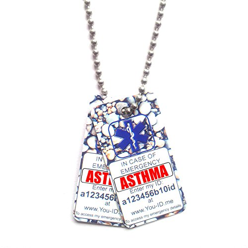Asthma Identity Ketting Lichtgewicht PVC Tags ID Ball Chain Asthmatic Man Dame Volwassen Kind Jongen Meisje. Emergency Medical Alert Service Ambulance Paramedics Eerste Responder Vitale Informatie Meds