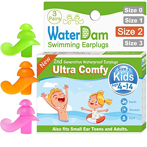 WaterDam Swimming Ear Plugs for Kids Children Small Ear Teens and Adults , 3 Pairs Ultra Comfy Soft Silicon Reusable Waterproof Earplugs (Green Orange Pink)