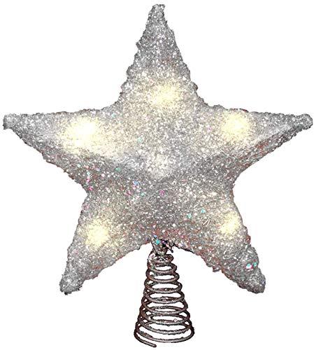 LAWOHO Weihnachtsbaumspitze Stern 25,4 cm glitzernder silberfarbener Weihnachtsbaumschmuck für den Innenbereich, Party, Heimdekoration, passend für Normale Größe