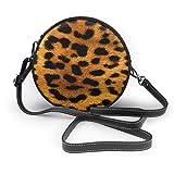 Bolso cruzado redondo para mujer con cremallera de piel de leopardo animal y bolsos de mano