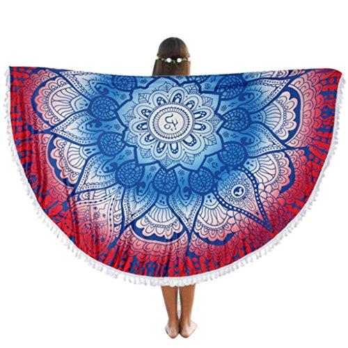 Vovotrade Serviette Ronde Plage Piscine Maison Douche Serviette Couverture Table Tissu Tapis de Yoga Serviette de Plage avec Gland (Multicolor)