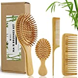 MRD Bamboo Hair Brush and Comb Set with Paddle Detangling Brushes Natural Hairbrush ECO-Friendly No Bristle, suit for Women Men and Kids Thick/Thin/Curly/Dry Hair Gift kit(4 pcs)