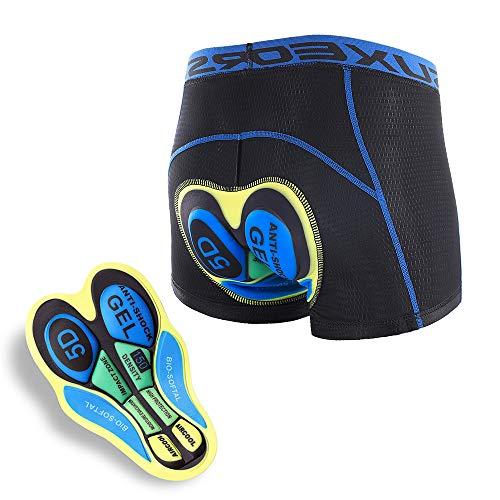 LXZH Pantalones Cortos De Ciclismo Hombre Mujer 5D Gel Acolchado, Transpirable Ropa Interior De Ciclismo De Secado Rápido Antideslizante Elástico para Bicicleta De Montaña,Amarillo,S