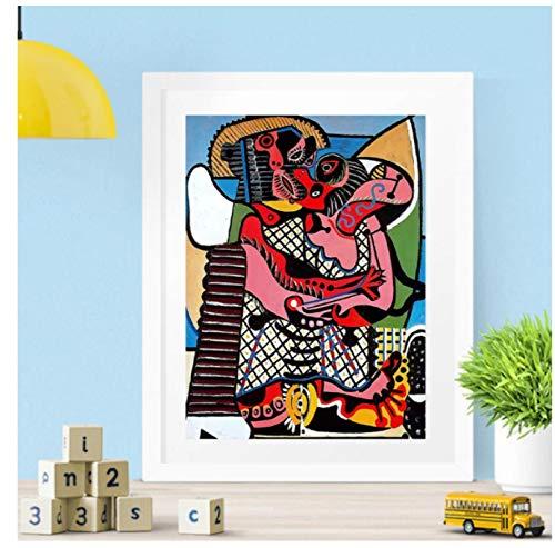 DrCor Der Kuss von Picasso Plakate und Drucke Leinwand Wandkunst Gemälde Bilder für Wohnzimmer Home Decoration Geschenk -20x28 Zoll No Frame 1 PCS