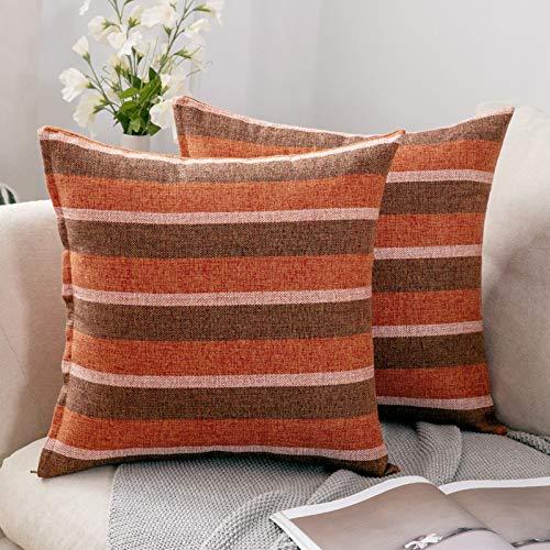 MIULEE 2er Set Streifen Leinenoptik Home Dekorative Kissenbezug Kissenhülle Kissenbezug für Sofa Schlafzimmer Auto mit Reißverschlüsse 40x40cm Orange